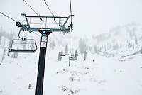 The ski lift during a heavy snow at Alpine Meadows, Lake Tahoe, California