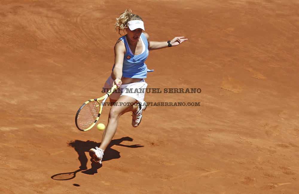 17 May 2009, Madrid --- Caroline Wozniacki of Denmark in action during the women singles final match of the ATP 1000 Mutua Madrilena Madrid Open at the Magic Box stadium in Madrid, Spain. Photo byJuan Manuel Serrano --- Image by ©Juan Manuel Serrano