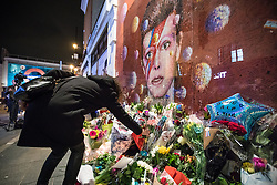 © Licensed to London News Pictures. 10/01/2017. London, UK. A woman lays flowers beneath a mural of David Bowie in Brixton, south London, to commemorate the first anniversary of the star's death. Photo credit: Rob Pinney/LNP