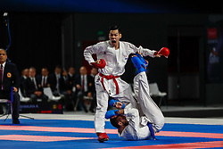 November 10, 2018 - Madrid, Madrid, Spain - Nishimura Ken (JPN) figth with Mizov Belsan (RUS) for third place of male Kumite -75 Kg during the Finals of Karate World Championship celebrates in Wizink Center, Madrid, Spain, on November 10th, 2018. (Credit Image: © AFP7 via ZUMA Wire)