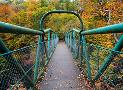 Green footbridge in natural woodland crossing River Garry at historic Pass of Killiecrankie at Soldier's Leap  near Pitlochry.