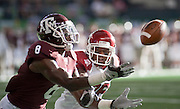 Sports photography from an NCAA college football game between the University of Arkansas and Texas A&M.