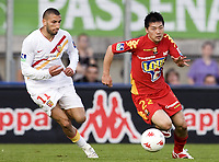 Fotball<br /> Frankrike<br /> Foto: Dppi/Digitalsport<br /> NORWAY ONLY<br /> <br /> FOOTBALL - FRENCH CHAMPIONSHIP 2007/2008 - L1 - LE MANS UC v RC LENS - 26/04/2008 - DAISUKE MATSUI (MANS) / NADIR BELHADJ (LENS)