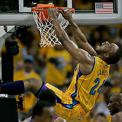 April 22, 2011; New Orleans, LA, USA; New Orleans Hornets power forward Carl Landry (24) dunks against the Los Angeles Lakers during the second half in game three of the first round of the 2011 NBA playoffs at the New Orleans Arena. The Lakers defeated the Hornets 100-86.   Mandatory Credit: Derick E. Hingle