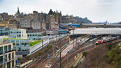 View of Waverley Station and the Old Town in Edinburgh, Scotland, UK