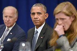 (L-R) U.S. Vice President Joe Biden, U.S. President Barack Obama and Samantha Power, United States Ambassador to the United Nations, attend a bilateral meeting with Prime Minister Haider al-Abadi of Iraq at the Lotte New York Palace Hotel in New York City, NY, USA, on September 19, 2016. Photo by Anthony Behar/Pool/ABACAPRESS.COM