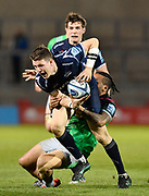 Harlequins centre Ben Tapuai tackles Sale Sharks centre Sam James during a Gallagher Premiership match won by Sale Sharks 27-17 at the AJ Bell Stadium, Eccles, Greater Manchester, United Kingdom, Friday, April 5, 2019. (Steve Flynn/Image of Sport)