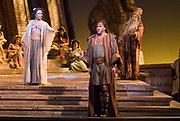 GASTON DE CARDENAS/EL NUEVO HERALD - Florida Grand Opera's Samson et Dalila: Denyce Graves and Jon Villars in the title roles, with Stefan Szkafarowsky as the Old Hebrew.