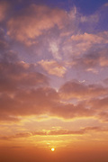 sunset, fair weather clouds