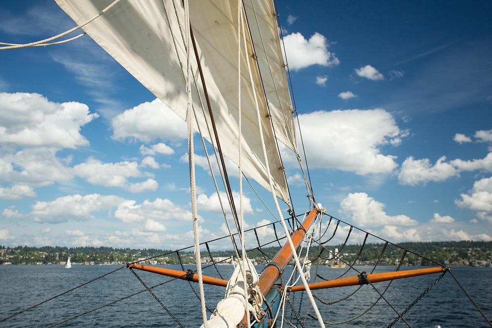 United States, Washington, Kirkland, bowsprit and sail of tall ship