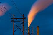 Power poles and smoke stacks, night light, Nippon Paper Industries, Clallam County, Port Angeles, Washingtion, USA