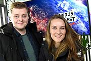 Aankondiging van de 3FM Serious Request actie in Vredeburg, Utrecht De jaarlijkse actie van radiozender 3FM om geld op te halen voor het Rode Kruis. De opbrengst gaat dit keer niet naar een maar naar drie verschillende goede doelen.<br /> <br /> Op de foto:  3FM dj's Rob Janssen en Jorien Renkema