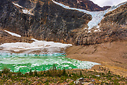 The Angel Glacier and icebergs on meltwater, Mount Edith Cavell, Jasper National Park, Alberta Canada