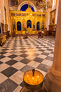 Candles and the altar in the Church of the Holy Annunciation, Dubrovnik, Dalmatian Coast, Croatia
