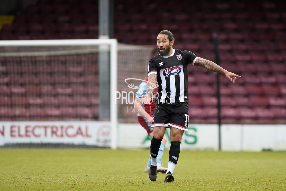 Grimsby Town Sean Scannell (11) full length portrait pointing, directing, signalling, gesture during the EFL Sky Bet League 2 match between Scunthorpe United and Grimsby Town FC at the Sands Venue Stadium, Scunthorpe, England on 23 January 2021.