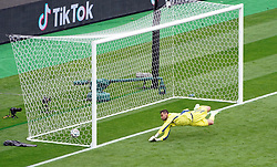 Czech Republic's Patrik Schick (not pictured) scores their side's first goal of the game past Scotland goalkeeper David Marshall during the UEFA Euro 2020 Group D match at Hampden Park, Glasgow. Picture date: Monday June 14, 2021.