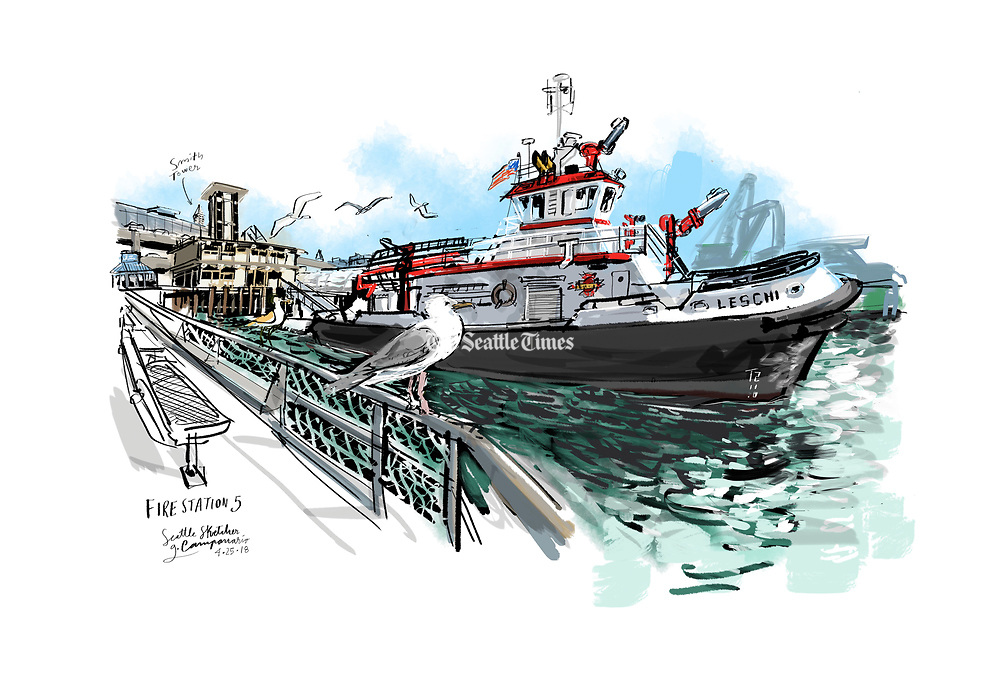 The 108-foot Leschi, docked at Fire Station 5 on the west end of Madison Street, right between Colman Dock and the legendary Ivar's Fish and Chips Restaurant.  (Gabriel Campanario / The Seattle Times)