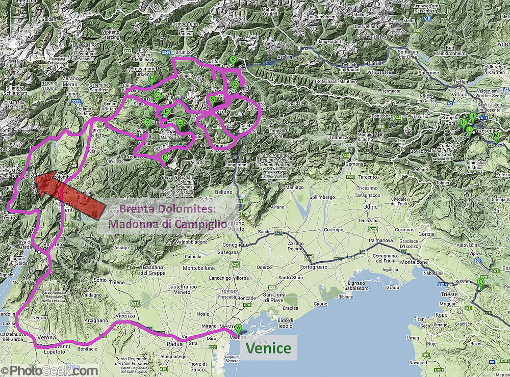 Brenta Dolomites and Venice locater map, Italy, Europe (from Google Earth).