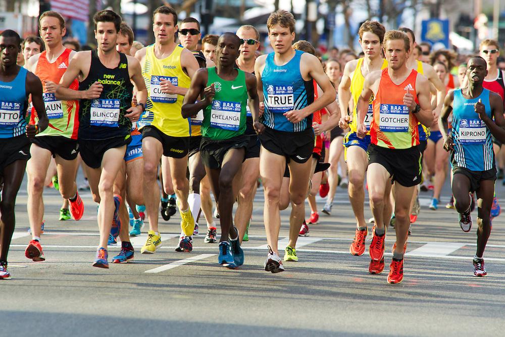 elite men storm away from start in BAA 5K road race
