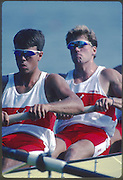Banyoles, SPAIN, CAN M4-, Cedric BURGERS , Brian SAUNDERSON , Greg STEVENSON , Don TELFER,  competing in the 1992 Olympic Regatta, Lake Banyoles, Barcelona, SPAIN. 92 Gold Medalist.   [Mandatory Credit: Peter Spurrier: Intersport Images]