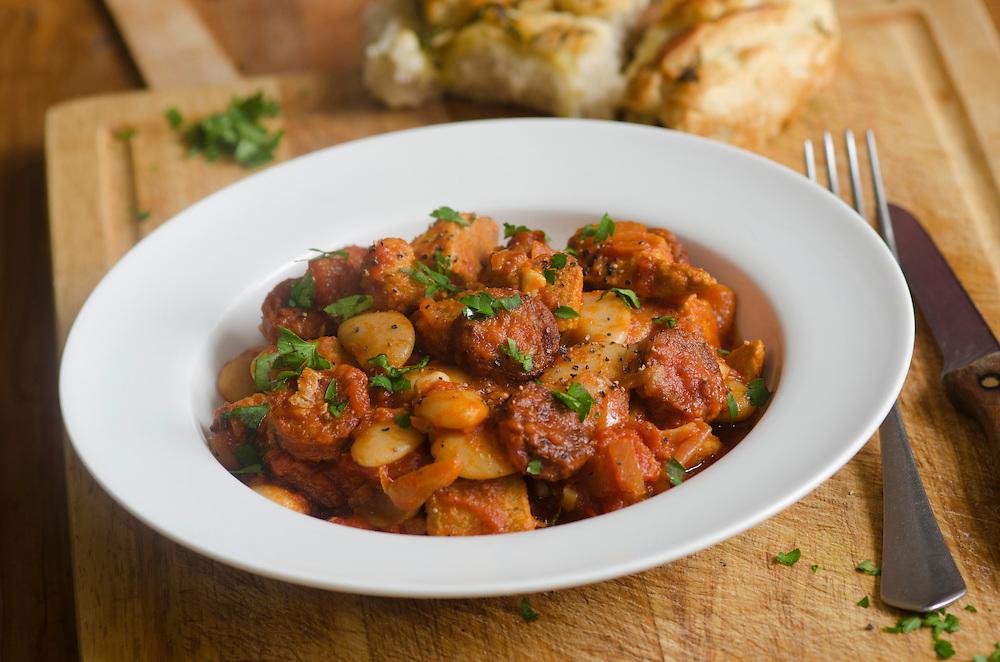 Pork, chorizo and butter bean stew on a plate
