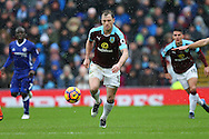 Ashley Barnes of Burnley makes a break. Premier league match, Burnley v Chelsea at Turf Moor in Burnley, Lancs on Sunday 12th February 2017.<br /> pic by Chris Stading, Andrew Orchard Sports Photography.