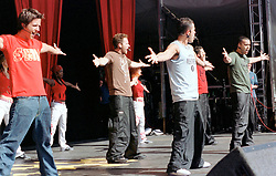 """Boy band five performing on stage at """" Feel The Noise"""". A Local Radion (Rock FM)  charity pop event which was held at Blackburn Rovers Football Ground Saturday 2nd June 2001."""