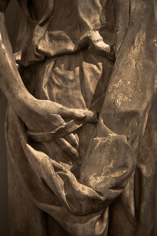 """Close up of hand and drapery of Donatello's statue of Habbakuk (""""Il Zuccone""""), between 1423-35.  Made for the Campanile, now in the Museo dell'Opera del Duomo, Florence."""