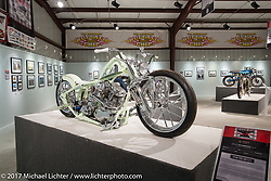 Kevin Taco Rodriguez's custom Panhead in the Old Iron - Young Blood exhibition in the Motorcycles as Art gallery at the Buffalo Chip during the annual Sturgis Black Hills Motorcycle Rally.  SD, USA. Friday August 11, 2017.  Photography ©2017 Michael Lichter.