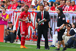 May 5, 2018 - Harrison, NJ, U.S. - HARRISON, NJ - MAY 05:  New York Red Bulls Head Coach Jesse Marsch talks with New York City midfielder Maximiliano Moralez (10) during the second half of the Major League Soccer game between New York City and the New York Red Bulls on May 5, 2018, at Red Bull Arena in Harrison, NJ.   (Photo by Rich Graessle/Icon Sportswire) (Credit Image: © Rich Graessle/Icon SMI via ZUMA Press)
