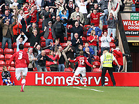 Photo: Mark Stephenson.<br />Walsall v Hereford United. Coca Cola League 2. 09/04/2007. Walsall's Dean Keates celebrates his goal with the fans