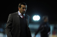 Newport county manager Justin Edinburgh looks on. Skybet football league 2 match, Newport county v Fleetwood Town at Rodney Parade in Newport, South Wales on Tuesday 4th March 2014.<br /> pic by Andrew Orchard, Andrew Orchard sports photography.