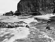 9111-279. suspension bridge around Maxwell point, Oceanside, Oregon.