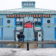 Entrance to the Marche de Vieux Port, or Market of the Old Port, on the waterfront of Quebec City, Canada.