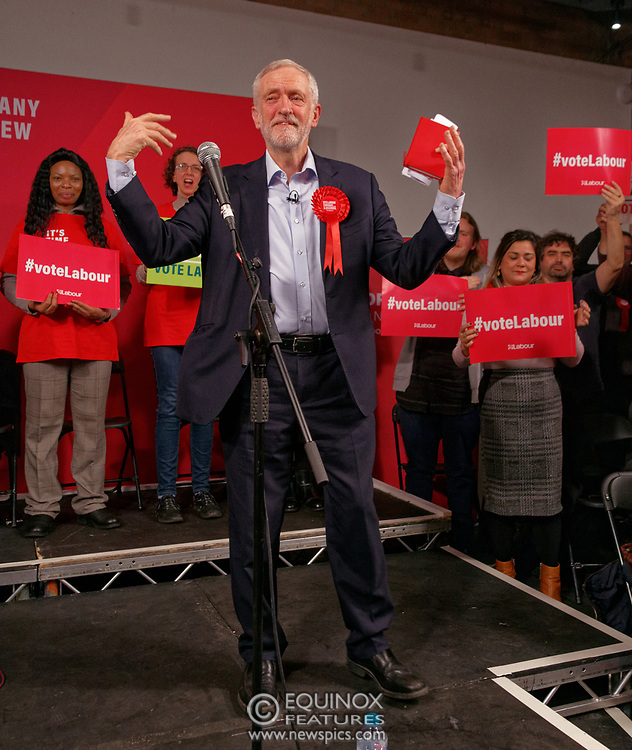London, United Kingdom - 11 December 2019<br /> Labour Party leader Jeremy Corbyn speaking at their final campaign rally before the General Election 2019 at Hoxton Docks, London, England, UK.<br /> (photo by: EQUINOXFEATURES.COM)<br /> Picture Data:<br /> Photographer: Equinox Features<br /> Copyright: ©2019 Equinox Licensing Ltd. +443700 780000<br /> Contact: Equinox Features<br /> Date Taken: 20191211<br /> Time Taken: 21551546<br /> www.newspics.com