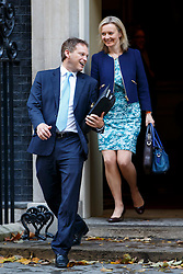 © Licensed to London News Pictures. 21/10/2014. LONDON, UK. Conservative Chairman Grant Shapps and Environment Secretary Liz Truss attending to a cabinet meeting in Downing Street on Tuesday, 21 October 2014. Photo credit: Tolga Akmen/LNP