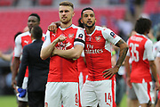Arsenal's Aaron Ramsey(8) and Arsenal's Theo Walcott(14) during the The FA Cup final match between Arsenal and Chelsea at Wembley Stadium, London, England on 27 May 2017. Photo by Shane Healey.
