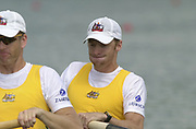Seville, Andalusia, SPAIN<br /> <br /> 2002 World Rowing Championships - Seville <br /> - Spain <br /> <br /> Thursday  19/09/2002.<br /> <br /> <br /> AUS M2- Stroke James Tomkins and Andrew (Drew) Ginn,<br /> <br /> Rio Guadalquiver Rowing course<br /> <br /> <br /> [Mandatory Credit:Peter SPURRIER/Intersport Images]