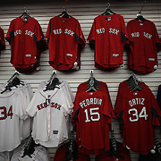 Boston Red Sox shirts for sale in the club store during the Boston Red Sox V Tampa Bay Rays, Major League Baseball game on Jackie Robinson Day, Fenway Park, Boston, Massachusetts, USA, 15th April, 2013. Photo Tim Clayton