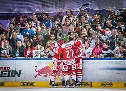 20.04.2018, Eisarena, Salzburg, AUT, EBEL, EC Red Bull Salzburg vs HCB Suedtirol Alperia, Finale, 7. Spiel, im Bild Torjubel Bozen Dominic Monardo (HC Bozen), Matt Tomassoni (HC Bozen) // during the Erste Bank Icehockey 7th final match between EC Red Bull Salzburg and HCB Suedtirol Alperia at the Eisarena in Salzburg, Italy on 2018/04/20. EXPA Pictures © 2018, PhotoCredit: EXPA/ JFK
