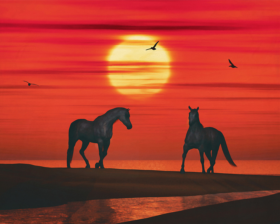 A horse is waiting on the beach while another horse steps out of the sea towards him; it is sunset and the evening sky is turning red. A few seagulls cut through the evening sky. This attractive work can be purchased in various materials and formats. –<br /> -<br /> BUY THIS PRINT AT<br /> <br /> FINE ART AMERICA / PIXELS<br /> ENGLISH<br /> https://janke.pixels.com/featured/two-horses-and-a-sunset-jan-keteleer.html<br /> <br /> <br /> WADM / OH MY PRINTS<br /> DUTCH / FRENCH / GERMAN<br /> https://www.werkaandemuur.nl/index/131/nl/Jan-Keteleer/works/1846<br /> –<br /> -