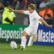 Jonny Wilkinson, England, kicking during the England V Scotland Pool B match during the IRB Rugby World Cup tournament. Eden Park, Auckland, New Zealand, 1st October 2011. Photo Tim Clayton...