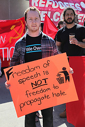 June 3, 2017 - Toronto, ONTARIO, Canada - Man with a sign saying 'freedom of speech is not freedom to propagate hate' during a rally in support of diversity, strength, and solidarity with oppressed groups in downtown Toronto, Ontario, Canada, on June 03, 2017. Protesters gathered to show that 'freedom of speech is not freedom to hate' during this Day of Action in support of diversity, strength, and solidarity and to counter the recent influx of racist demonstrations staged by right-wing hate groups across Canada. (Credit Image: © Creative Touch Imaging Ltd/NurPhoto via ZUMA Press)