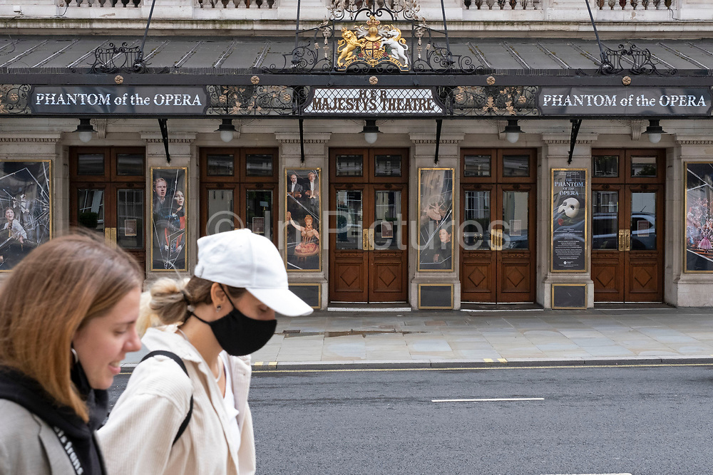 West End theatres ramain closed, with musicals and other theatre shows, like the incredibly popular Phantom of the Opera at Her Majestys Theatre, on hold under coronavirus lockdown on 1st July 2020 in London, England, United Kingdom. Theatreland has taken a big hit as social distancing has not allowed audiences to return and so doors and box offices are shut. As the July deadline approaces and government will relax its lockdown rules further, the West End remains quiet, while some non-essential shops are allowed to open with individual shops setting up social distancing systems.