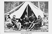 some of McClellan s staff-officers during the strenuous period of the Seven Days Battles from the book ' The Civil war through the camera ' hundreds of vivid photographs actually taken in Civil war times, sixteen reproductions in color of famous war paintings. The new text history by Henry W. Elson. A. complete illustrated history of the Civil war