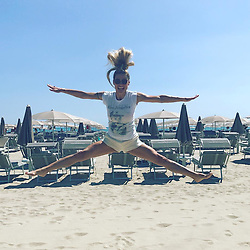 """Michelle Hunziker releases a photo on Instagram with the following caption: """"Un bel salto in questa estate del 2017!!! Forza!! Vi amooooooo! #jump #happiness #summertime \ud83d\ude18\u2764\ufe0f\u2764\ufe0f\u2764\ufe0f\u2764\ufe0f\u2764\ufe0f\u2764\ufe0f"""". Photo Credit: Instagram *** No USA Distribution *** For Editorial Use Only *** Not to be Published in Books or Photo Books ***  Please note: Fees charged by the agency are for the agency's services only, and do not, nor are they intended to, convey to the user any ownership of Copyright or License in the material. The agency does not claim any ownership including but not limited to Copyright or License in the attached material. By publishing this material you expressly agree to indemnify and to hold the agency and its directors, shareholders and employees harmless from any loss, claims, damages, demands, expenses (including legal fees), or any causes of action or allegation against the agency arising out of or connected in any way with publication of the material."""