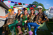 Glastonbury Festival, 2015.<br /> All dressed up in the camping grounds before the big night out.