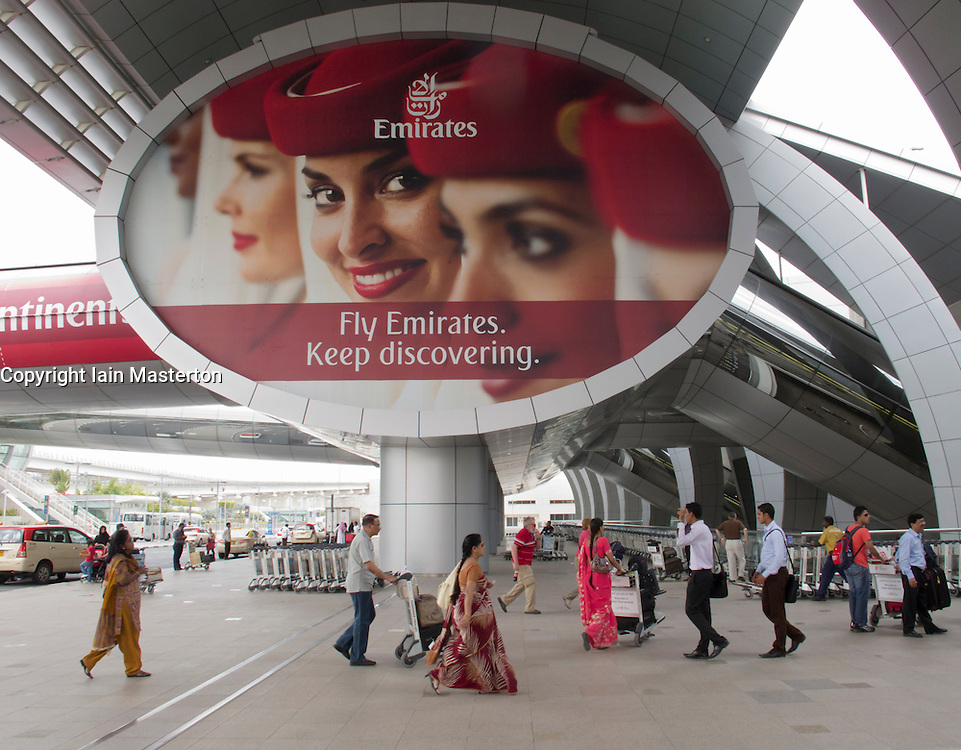 Entrance to new Dubai International Airport terminal UAE United Arab Emirates