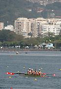 "Rio de Janeiro. BRAZIL. SUI LM4-.  2016 Olympic Rowing Regatta. Lagoa Stadium,<br /> Copacabana,  ""Olympic Summer Games""<br /> Rodrigo de Freitas Lagoon, Lagoa. Tuesday  09/08/2016<br /> [Mandatory Credit; Peter SPURRIER/Intersport Images]"