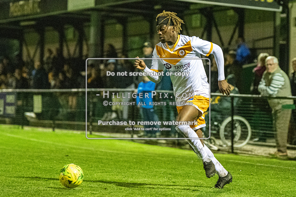 MERSTHAM, UK - OCTOBER 15: Andre Coker, of Cray Wanderers FC, cuts in from the wing during the BetVictor Isthmian Premier League match between Merstham and Cray Wanderers at The Whisky Bible Stadium on October 15, 2019 in Merstham, UK. <br /> (Photo: Jon Hilliger)